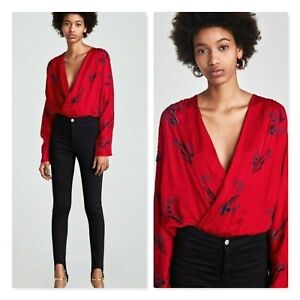 ZARA | Womens Red Beaded and Embroidered Bodysuit  [ Size S ot AU 10 / US 6  ]