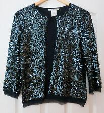 L K Bennett Navy Sequinted  Silk Sweater Cardigan Medium Formal 3/4 Sleeve  ..