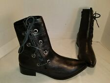 NEW FREE PEOPLE MATISSE PROPER BLACK LEATHER LACE UP BOOTIE ANKLE BOOTS US 9.5