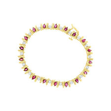 Marquise Shaped Ruby & Diamond Tennis Bracelet - 2.00cttw - 14k Yellow Gold