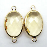 2Pcs Wrapped Faceted Light Yellow Crystal Oval 25x13x6mm Pendant Bead DW64