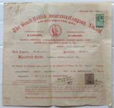 India 1927 The South British Insurance Co. premium & renewal receipt