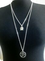 "Omkara OM OHM & Buddha Charms Layered Necklace Minimalist Silver Tone 30"" Chain"