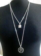 "Omkara OM OHM & Buddha Charms Layered Necklace Minimalist Silver Tone 30"" Chain"
