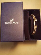 Authentic and Genuine Swarovski Twisty Drop Bangle, White, Gold Plating