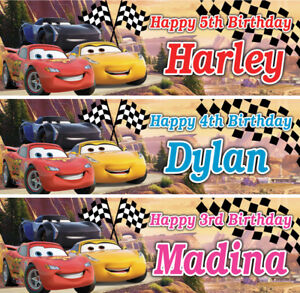 2  personalised cars birthday banner nursery children kid race party poster