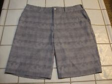 ADIDAS ClimaLite Golf Shorts Gray Plaid Polyester Spandex 5 Pockets Mens Size 35