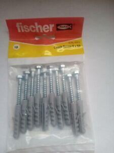 Fischer Hex Coach Screws 6x50 With Plugs 10 Pack New (Shelf01)