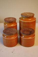 Vintage Hornsea England Pottery Four Piece Saffron Canister Set w/ lids