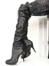 SALE Jeffrey Campbell ISSUE Boots Blk Spike Heel Stiletto Over Knee Thigh High 9