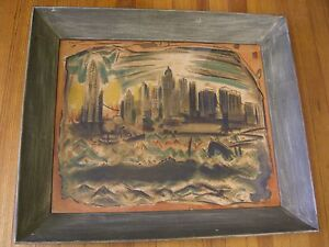 Mid-Century print- Lower Manhattan from the River, John Marin in Period Frame