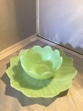 Anchor Hocking Jadite Fire King Lotus Leaf & Blossom Dessert Sets Plates & Bowls