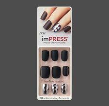 Kiss Impress Press on Nails One Step Manicure Claim to Fame Black and Jewelled