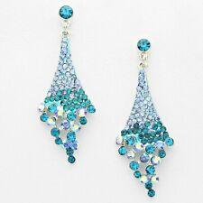 Blue Crystal Earrings Silver Tone Rich Sea Blue Green Sparkle Drop Earrings