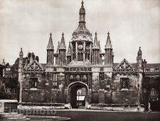 1926 Vintage UK England KING'S COLLEGE Cambridge Castle Photo Art By E.O. HOPPE