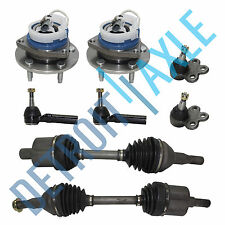 8 pc Set Front CV Axles + Tie Rods + Ball Joints + Wheel Hub Bearings FWD w/ ABS