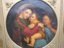 ANTIQUE ITALIAN 1800s MADONNA & CHILD PAINTING, GREAT COPY OF RAPHAEL