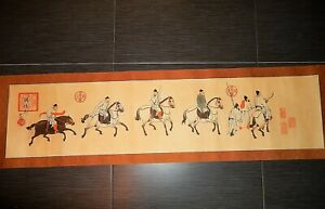 Chinese Hand Scroll Horsemen Reproduction Tang Dynasty