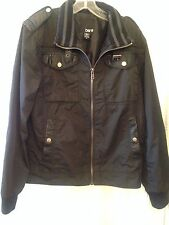 Bar III Men's Casual Jacket Black Zip Up Moto Style Elbow Patch Size M