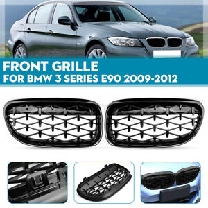 Glossy Black Front Grille Diamond Meteor Grill Kidney For BMW 3 Series E90 09-12