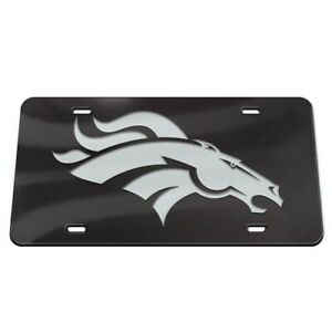 DENVER BRONCOS BLACK AND SILVER CRYSTAL MIRRORED CAR LICENSE PLATE