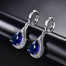 HUCHE Silver Gold Filled Dangle Ocean Blue Sapphire Women Party Daily Earrings
