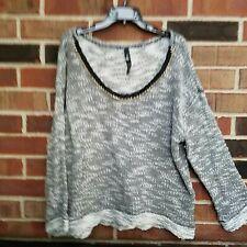 Jessica Simpson Kitson Sweater Black White with Gold Chain Detail Size 3X