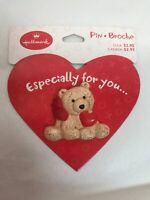 Hallmark PIN Valentines Vintage BEAR HEART Red Bow Teddy Brown Brooch NEW