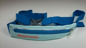 Nathan Zipper Pouch Running Belt For Cards And Keys Fanny Pack blue teal clip