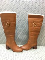 Franco Sarto BECKFORD WC Brown Leather Side Zip Knee High Boots Women's Size 9M