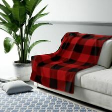 Blanket, Black and Red Checkered Sherpa Fleece Blanket, Rustic Cabin Bedding