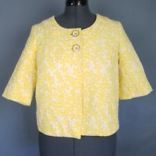 Alfani Jacket Womens 10 Yellow White Floral Half Sleeve Top Button Cropped Swing