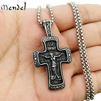 MENDEL Mens Russian Orthodox Crucifix Cross Pendant Necklace Stainless Steel Men