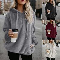 Women Fluffy Fleece Hoodies Long Sleeve Jumper Pullover Casual Warm Sweater Tops