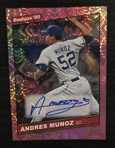 2020 Donruss Andres Munoz Auto Firework Parallel 9/49 #86S-MU San Diego Padres.