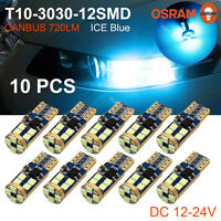 10 x Canbus T10 3030 12SMD OSRAM LED Ice Blue Car Side Light 720LM Bulb 12V~24V