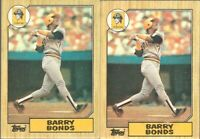 1987 Topps Barry Bonds Pittsburgh Pirates RC Rookie Error Card #320 Lot X 2$$$$