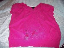 NICE Womens 1X STYLE & CO Pink PEASANT TOP Lace Detail Banded Bottom S/S