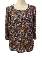 Skies Are Blue Anthropologie Womens Navy Blue Red Floral Shirt Top size Small