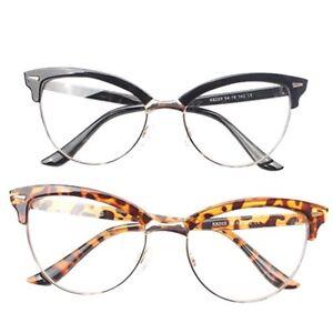 Reading Glasses Leopard Semi-rimless Cat Eye Women Elegant Magnifying Eyeglasses