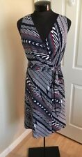 Anne Klein Marine Sleeveless Wrap Dress Multi-color Stripe Print Size 14