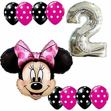 2nd Birthday Party Supplies Minnie Mouse Second Foil Balloons Polka dots Anagram