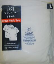 George White Crew Neck T-Shirts LARGE 2-Pack QTY 10 T-Shirts