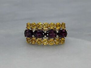 Solid 9ct Yellow Gold Statement Cluster Ring Purple Tourmaline Yellow Topaz - O