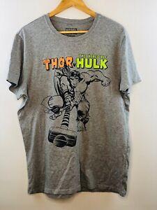 Mens Thor v Hulk marvel tshirt grey size large