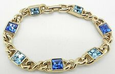 "Signed Swarovski Bracelet Blue Square Crystals Gold Plated 7.25"" B192"