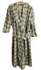 Victorias Secret Womens ML Hooded Blanket Robe Vtg Long Gray Plaid Wool Blend