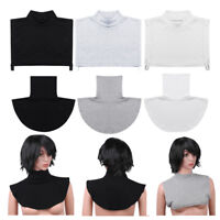 Womens Cotton Faux Turtleneck False Mock Half Blouse Collar Bib Detachable Cover