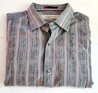 TOMMY BAHAMA Men's Silk/ Cotton LS Shirt Size Large Striped Gray/purple 41-4