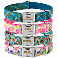 Engraved Dog Collar Personalized Name Metal Buckle Adjustable Puppy Pets Floral